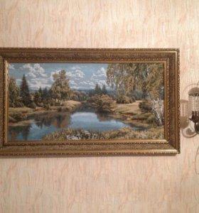 Картина гобелен Лесное озеро