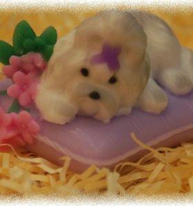 Мыло ручной работы Собачка на подушке