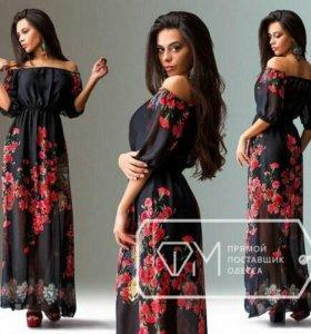 Платье шифон цветы новое в наличии