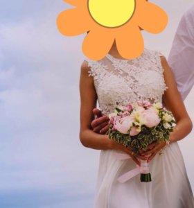 Свадебное платье в пол.