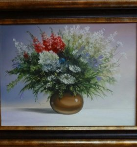 Картина маслом. Цветы. Цвета флага. 30х40см