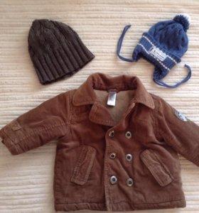 Куртка 68 см и 2 шапки