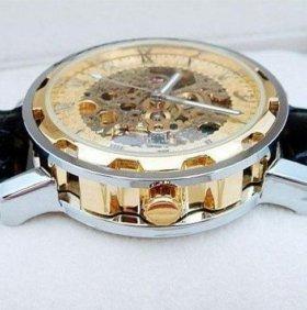 Часы скелетоны Позолоченные Winner Hollow Gold Мех