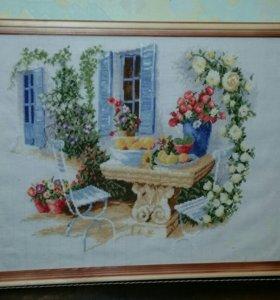 """Готовая вышивка крестом """"Цветочный дворик"""""""