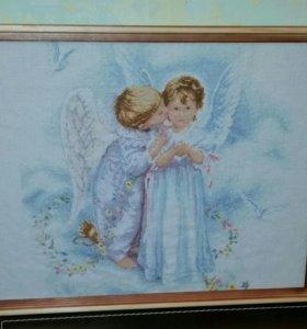 """Готовая вышивка крестом """"Поцелуи ангела"""""""