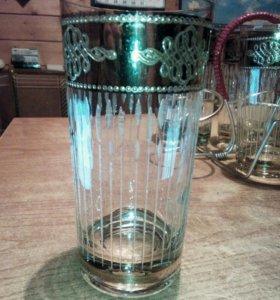 Антикварные стаканы с гравировкой и золотом