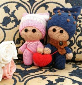 Вязаные игрушки. Вязаные куклы. Вязаные пупсики.