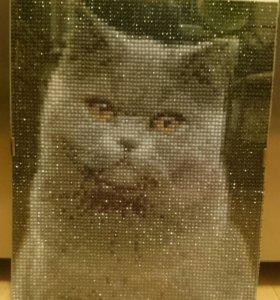 Картина кот алмазная мозайка