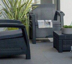 Кресла 2 шт + кофейный столик GardenDreams Leon