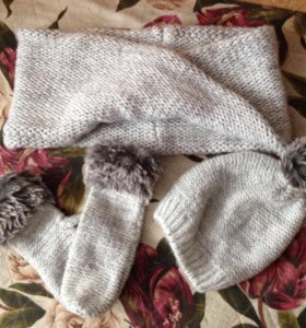 Комплект(шапка, шарфик, варежки)