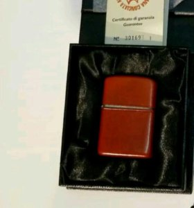 Zippo leather red brown