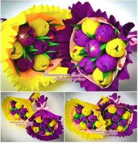Цветочно-Конфетные букетики