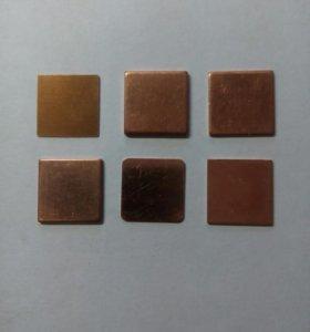 Медные пластины 15 х 15 мм