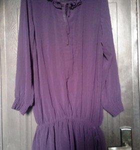Платье - туника сиреневый шифон 52