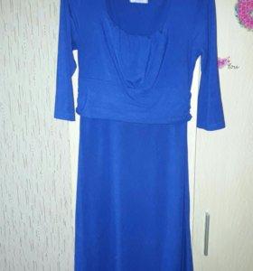 Синее платье для беременных и кормящих