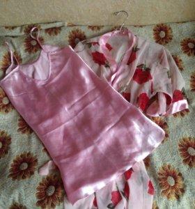 Сорочка ночнушка и халатик новый комплект