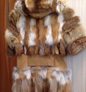 Меховая жилетка из лисы со вставками из замши