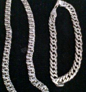 Мужская цепь и браслет.Серебро. Подарок 23 февр.