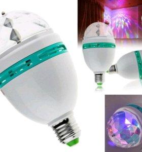 Вращающаяся, разноцветная, светодиодная лампа E27