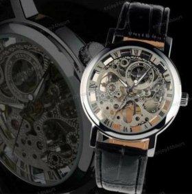Новые Часы Скелетон Skeleton Winner Silver Механик