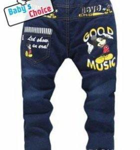"""Утепленные джинсы """"Мики"""" на резинке"""
