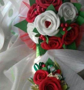 Свадебный букет с бутоньеркой
