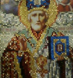 Икона Николай Угодник стразами