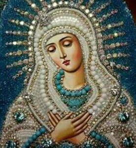 Икона Богородицы Умиление стразами