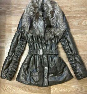 Кожаная утепленная куртка с мехом