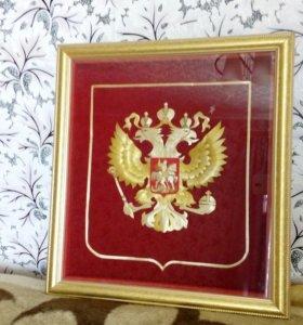Герб РФ из кубанской соломки