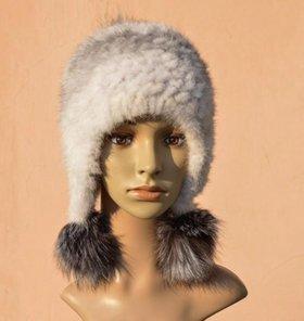 Меховая вязаная шапка/новая
