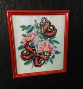 Вышивка крестом и бисером бабочки
