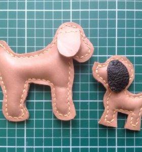 Собака брелок кожаный игрушка