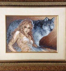 """Вышитая крестом картина """"Девушка и волк"""""""