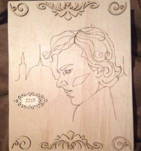 """Картина """"Шерлок"""". Выжигание по дереву."""