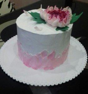 Торт без мастики с цветком из шоколада