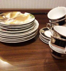 Тарелки и чайный набор