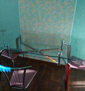 Стол стеклянный, и стулья 4шт.
