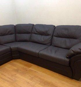 Кожаный угловой диван !