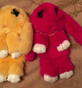 Милые зайцы сумочки и брелоки в наличии