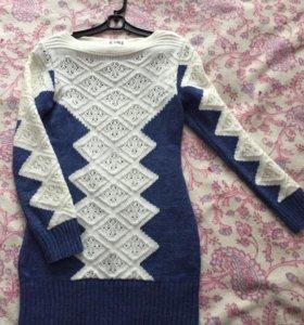 Вязаное платье тёплое