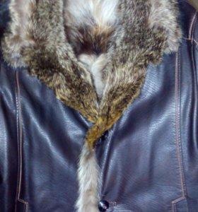 Куртка кожаная на волчьем меху, новая!