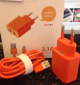 Зарядное устройство 2.1A + дата-кабель micro USB
