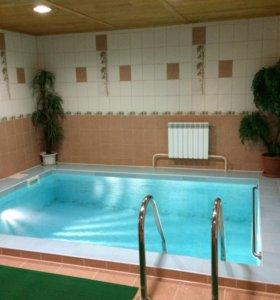 Сауна с бассейном и баня на дровах .