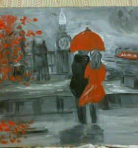 """картина """"Дождь в Лондоне"""""""