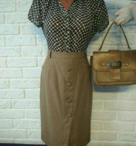 Блузка юбка сумка ретро