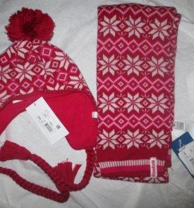 Женский комплект reebok шапка шарф