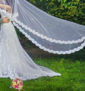 Свадебное платье кружево ручная работа.