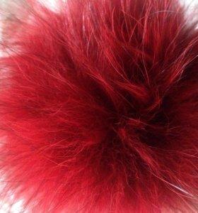 Натуральный пумпон енота 4 штуки цвет красный