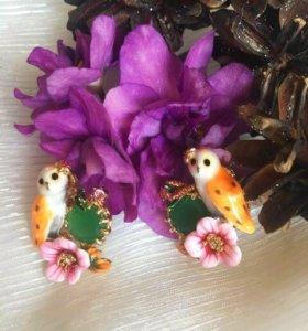 """Сережки, украшение, клипсы """"совы на розовом цветке"""